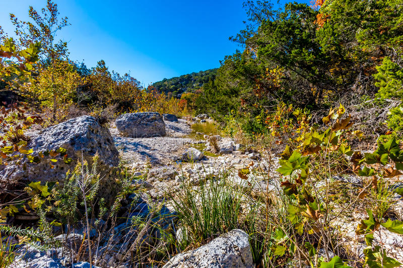 A Picturesque Scene with Beautiful Fall Foliage and Large Granite Boulders at Lost Maples royalty free stock image