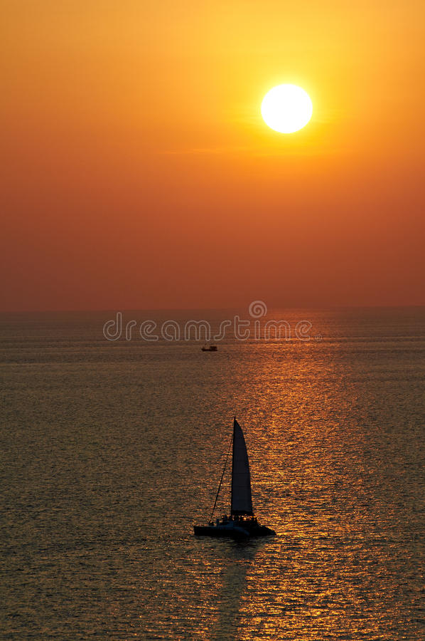 Picturesque sea view with sunset and horizon line. In Andaman sea near Phuket royalty free stock images