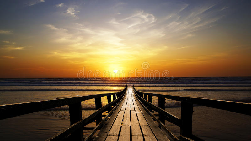 Picturesque seascape during sunset royalty free stock photography