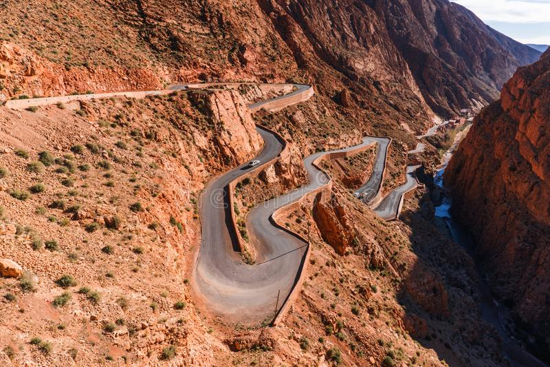 Picturesque Serpentine mountain road in Gorges Dades in high Atlas, Morocco.  stock images