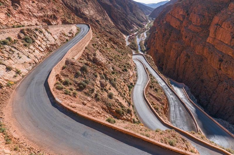 Picturesque Serpentine mountain road in Gorges Dades in high Atlas, Morocco.  royalty free stock images