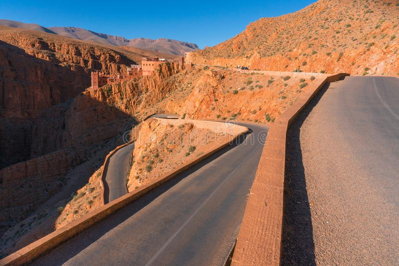 Picturesque Serpentine mountain road in Gorges Dades in high Atlas, Morocco.  royalty free stock image