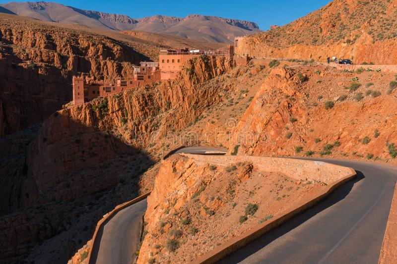 Picturesque Serpentine mountain road in Gorges Dades in high Atlas, Morocco.  stock photos
