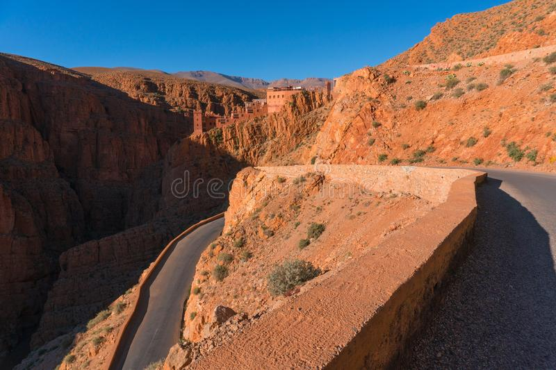 Picturesque Serpentine mountain road in Gorges Dades in high Atlas, Morocco.  royalty free stock photos