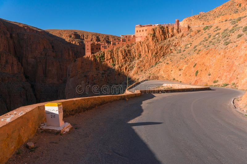 Picturesque Serpentine mountain road in Gorges Dades in high Atlas, Morocco.  stock image
