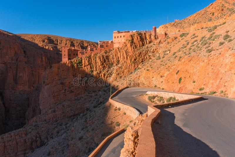 Picturesque Serpentine mountain road in Gorges Dades in high Atlas, Morocco.  royalty free stock photo