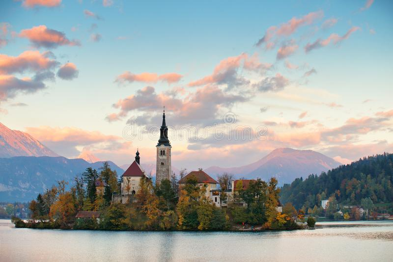 Picturesque Slovenia, Bled lake and town in the evening. Amazing View On Bled Lake, Island, Church And Castle With Mountain Range Stol, Vrtaca, Begunjscica stock photo