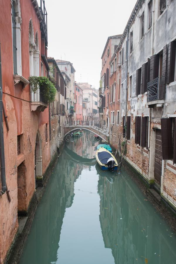 Picturesque spring view of Vennice with famous water canal and colorful houses. Splendid morning scene in Italy, Europe royalty free stock photos