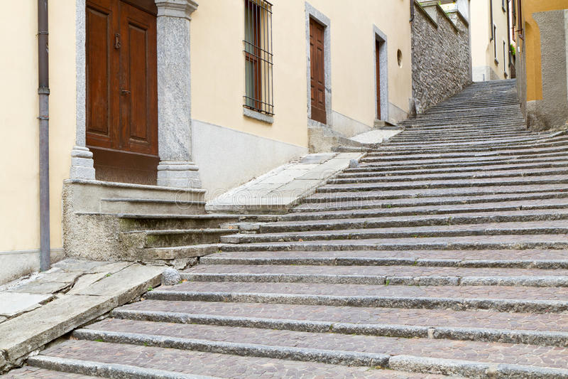 Picturesque staircase in an italian small town stock photos