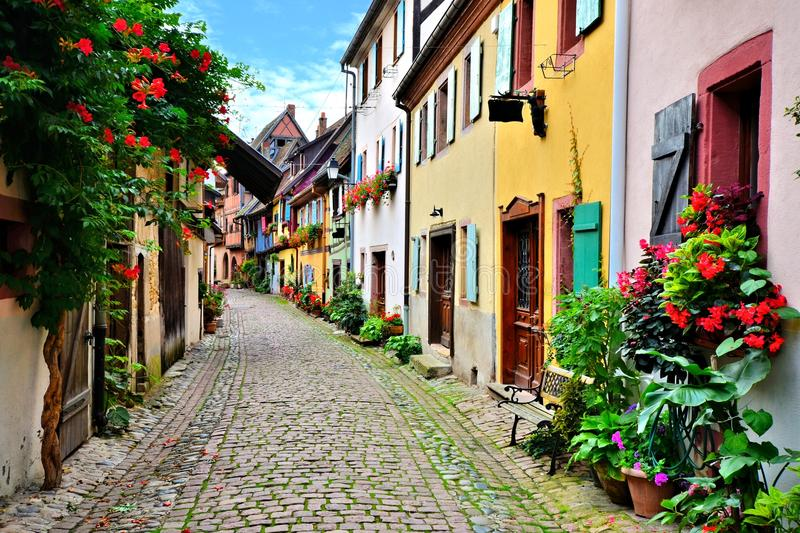 Picturesque street in Alsace, France stock photography