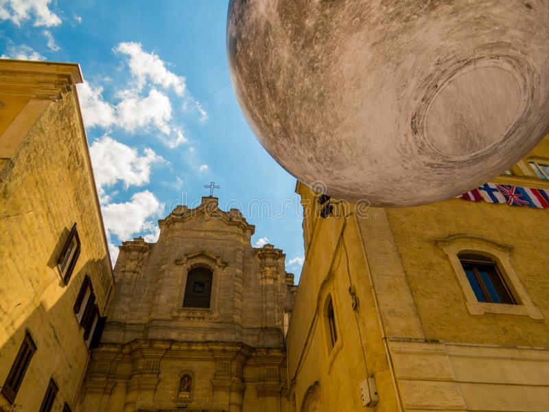Moon landing celebration in Matera, Italy. Picturesque street in the old town with celebration for the 50th anniversary of the Man on the Moon stock photos