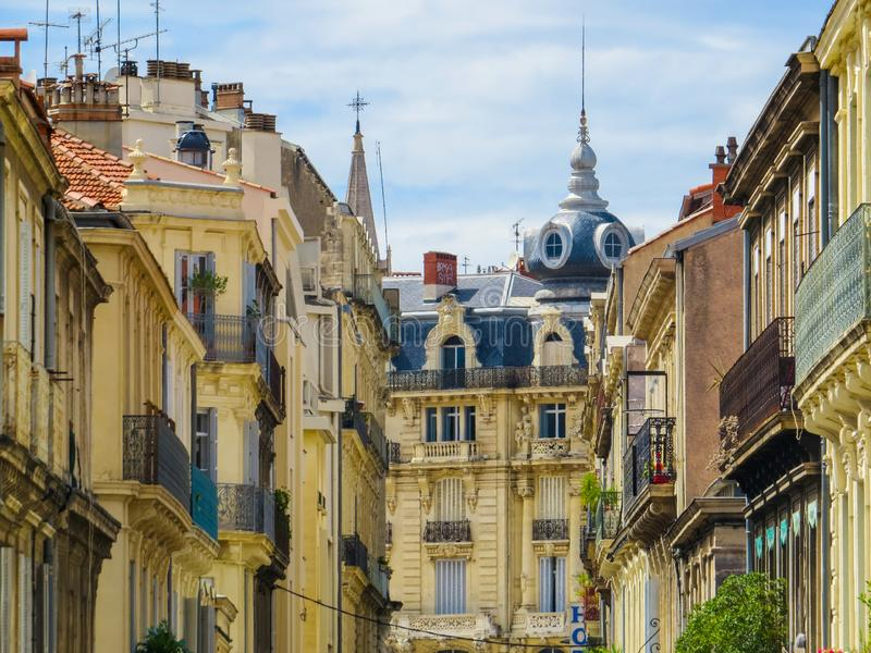 Picturesque street in Montpellier, France. Picturesque street in the old town in Montpellier, France stock photos