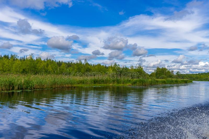 Picturesque summer landscape with northern river and forest in summer cloudy day. Travelling and discovering distant places of stock photos