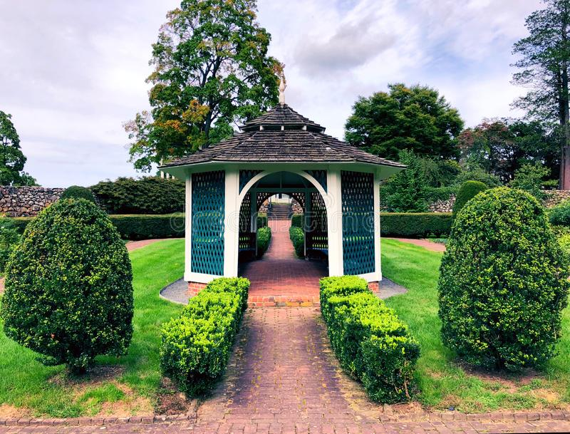 The picturesque Sunken Garden at Hill–Stead Museum. Is a Colonial Revival house and art museum set on a large estate in Farmington, Connecticut.The stock photo