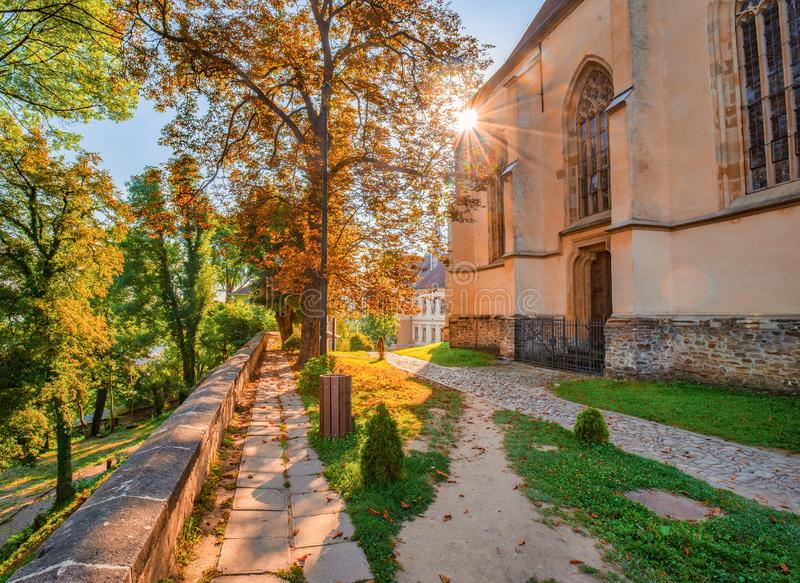 Picturesque sunrise over Church in the Hill. Sighisoara, Transylvania, Romania royalty free stock photos