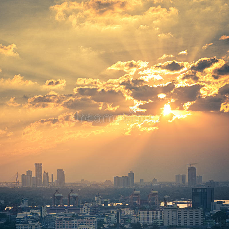 Picturesque sunset in Bangkok stock photography