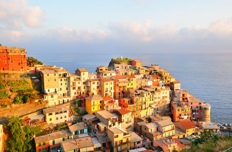 Picturesque sunset in colorful Manarola stock images