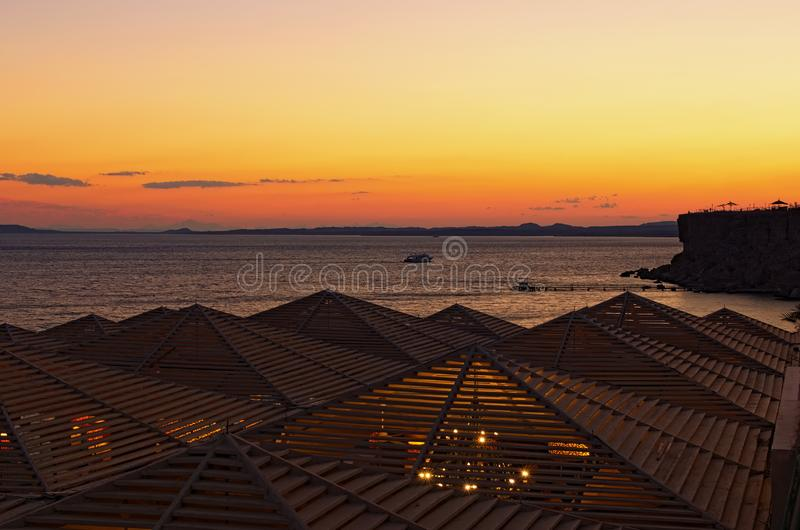Picturesque sunset landscape photo of luxury beach in Red Sea. View from the roof. Sharm El Sheikh, Egypt. Summer vacation concept royalty free stock images