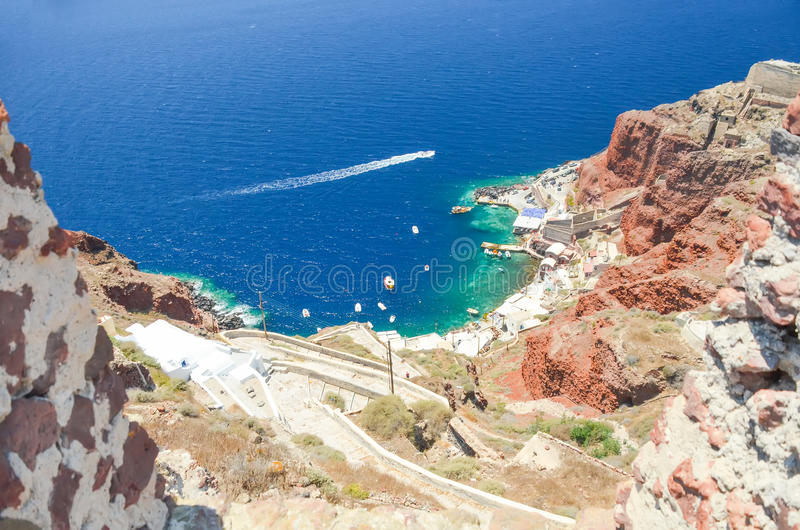A picturesque town on the hillside. Of Santorini stock image