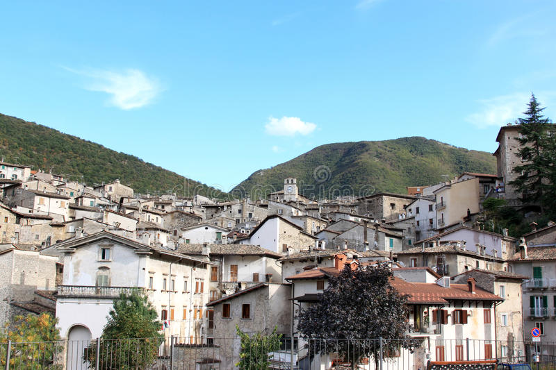 Picturesque town of Scanno, Central-Italy stock photo