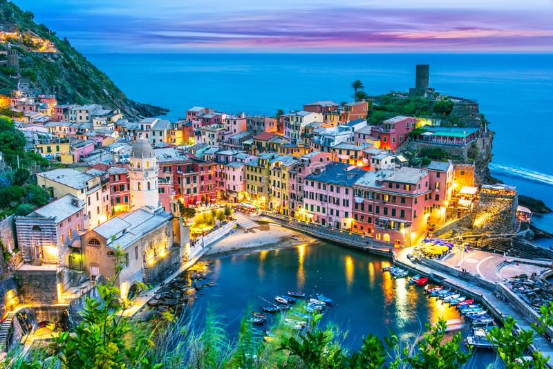 Picturesque town of Vernazza, Liguria, Italy. Picturesque town of Vernazza, in the province of La Spezia, Liguria, Italy after sunset stock image