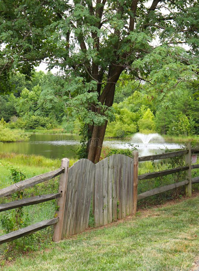 Picturesque Trees, Fountain, Pond, and Artistic Fence royalty free stock photos