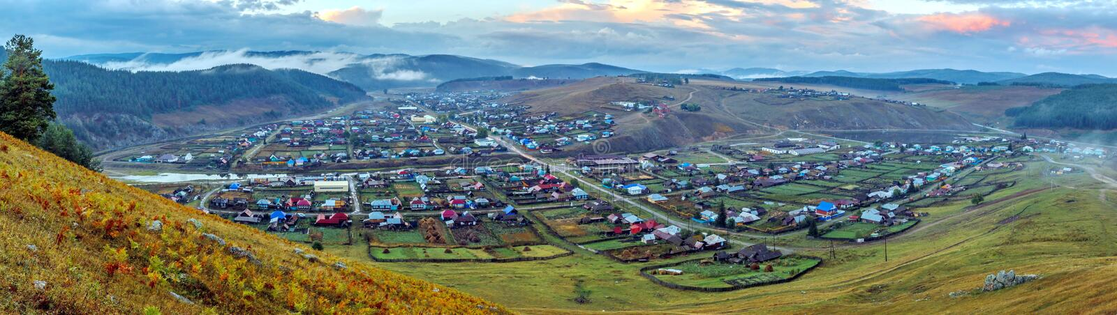 Ural village in the mountains. Kaga. Bashkortostan. Picturesque Ural valley. The village in the mountains. Kaga. Bashkortostan stock photo