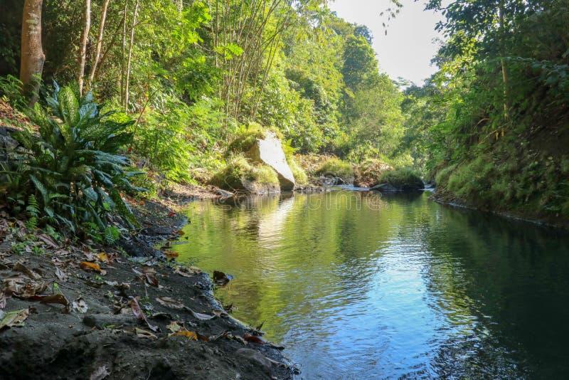 Picturesque-vallei in bergen en kalme rivier. Boulders in de rivierbedding en rotsen langs de vallei stock foto