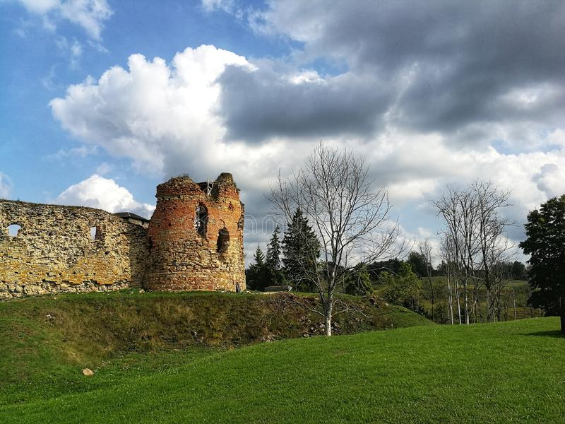 Picturesque Vastseliina castle ruins in sunny day. Historic and tourist place in Vorumaa, Estonia. Fortress, county, medievel, medieval, livonia, balticstates royalty free stock photos