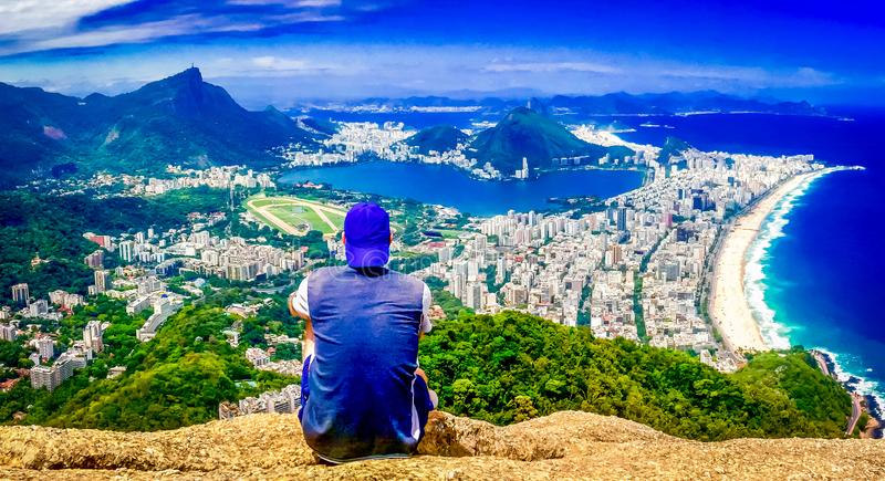 Overlooking Rio De Janerio from the Two Brother Mountain royalty free stock photos
