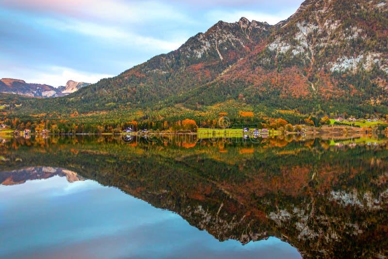 Alpine landscape in autumn at Wolfgangsee lake, Sankt Gilgen, Austria. stock photos