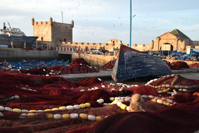 Picturesque View of Colorful and Vibrant Old Essaouira Port, Sqala du Port, a defensive tower, the fishing port. Picturesque View of Colorful and Vibrant Old stock images