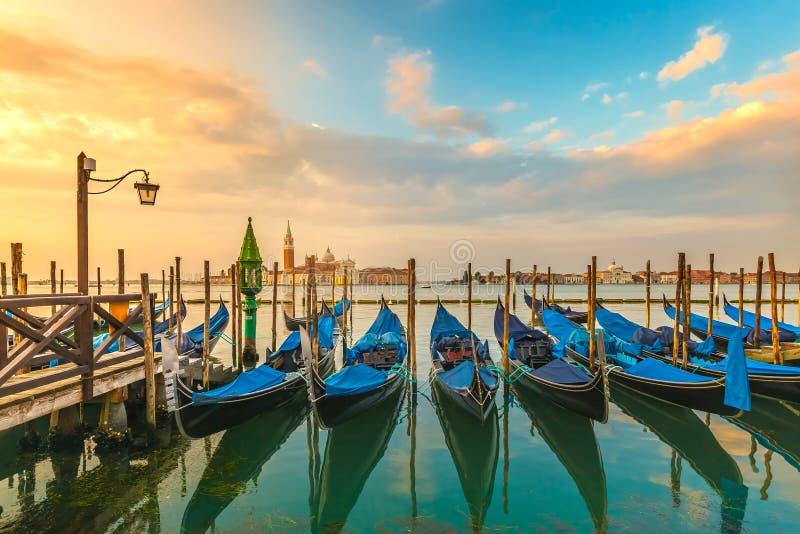 Picturesque view famous gondolas sunrise Venice Italy royalty free stock photo