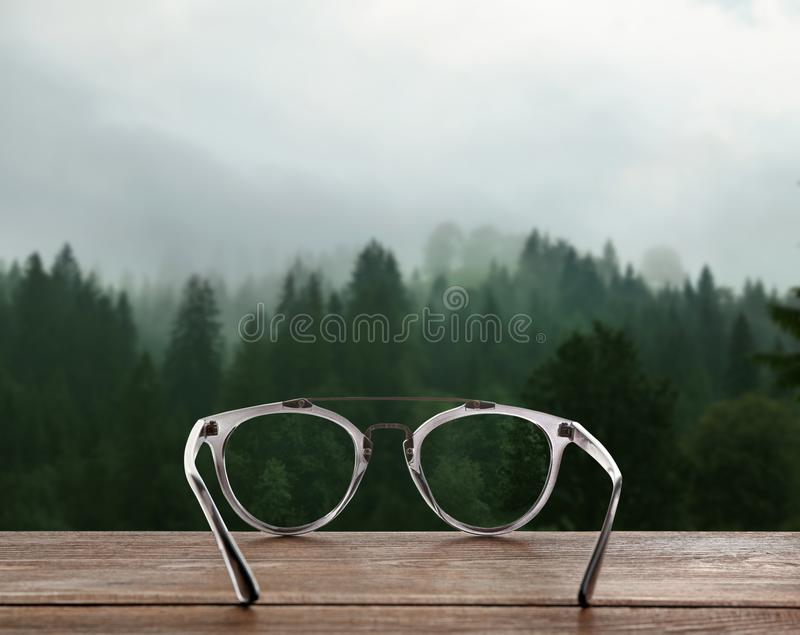 Picturesque view of mountain forest in foggy stock image