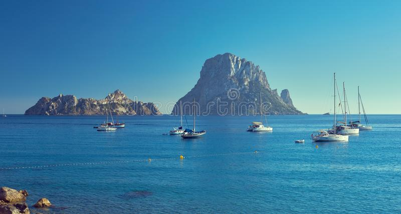 Es Vedra. Ibiza Island, Balearic Islands. Spain. Picturesque view of the mysterious island of Es Vedra. Ibiza Island, Balearic Islands. Spain royalty free stock photography