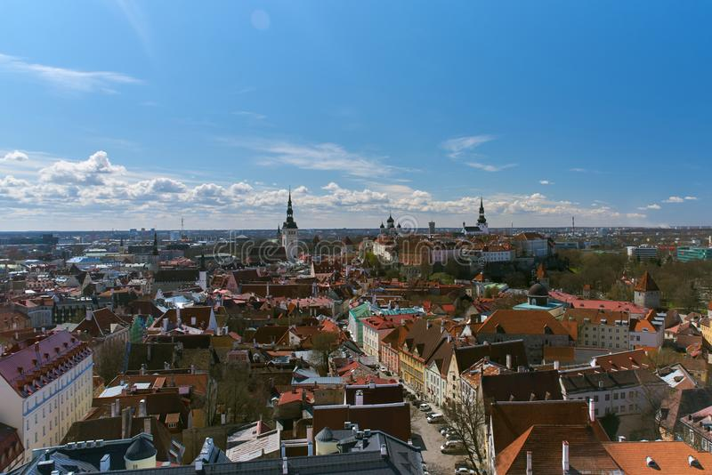Aerial view over Tallinn historic city center. royalty free stock image