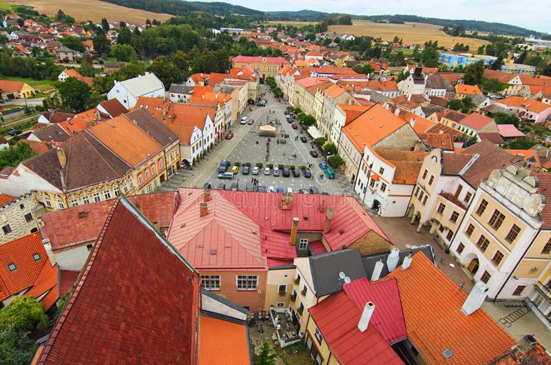 Picturesque view of Peace Town Square from bell tower in Slavonice. Beautiful houses with vintage tile roofs. Slavonice. Czech Republic stock image