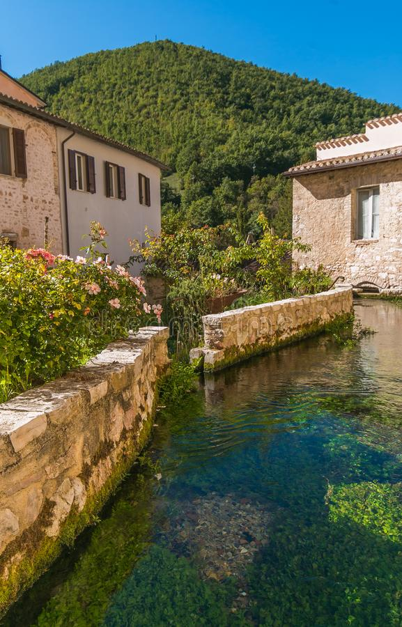 Picturesque view of Rasiglia with little stream in the historic center, Umbria stock photography
