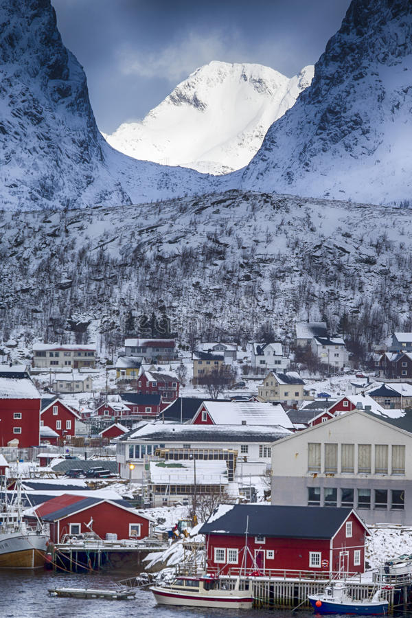 Picturesque View of Reine Villlage on Lofoten Island Over the Polar Circle. Travel Concept and Ideas. Picturesque View of Reine Villlage on Lofoten Island Over stock photos