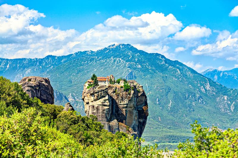 Picturesque view of rock formation Meteora in central Greece royalty free stock image