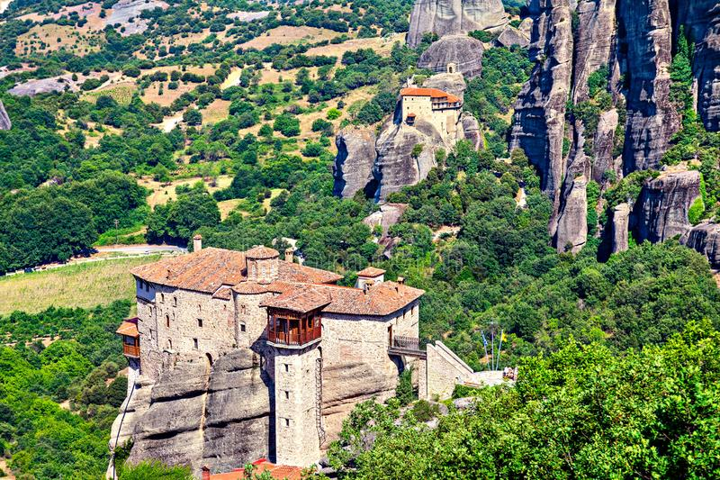 Picturesque view of rock formation Meteora and Thessaly valley in central Greece royalty free stock photography
