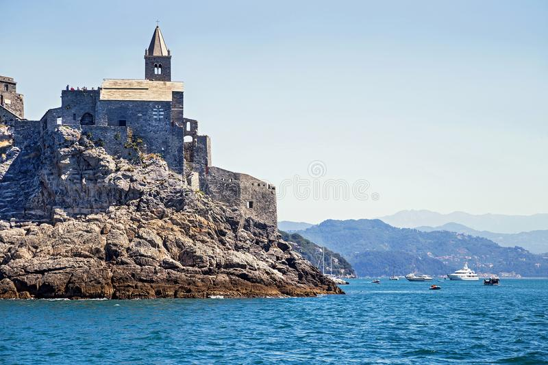 Picturesque view from sea the entrens to the Porto Venere with Doria castle. stock photo
