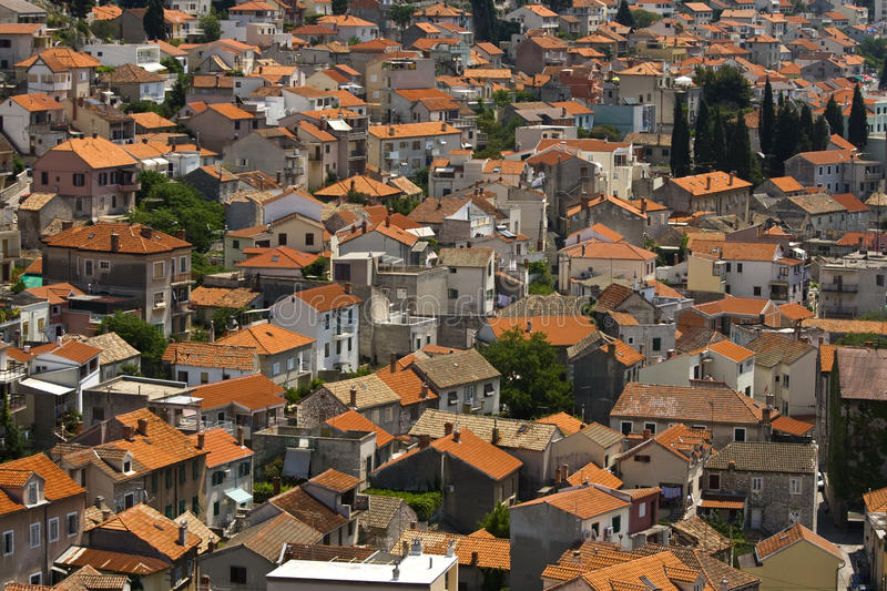 Download Picturesque View On Sibenik Roofs Stock Photo - Image of blue, roof: 20998602