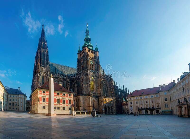 Picturesque view of St. Vitus Cathedral in Prague, Czech Republic. Empty square in Praque Castle, no, people, architect, tourist, attraction, build, cityscape stock image