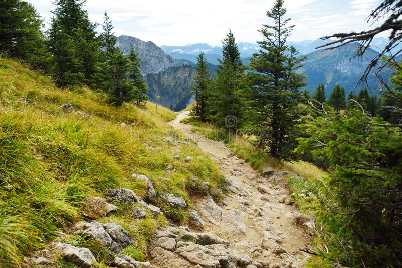 Picturesque views from the Tegelberg mountain, a part of Ammergau Alps, located nead Fussen town stock photo
