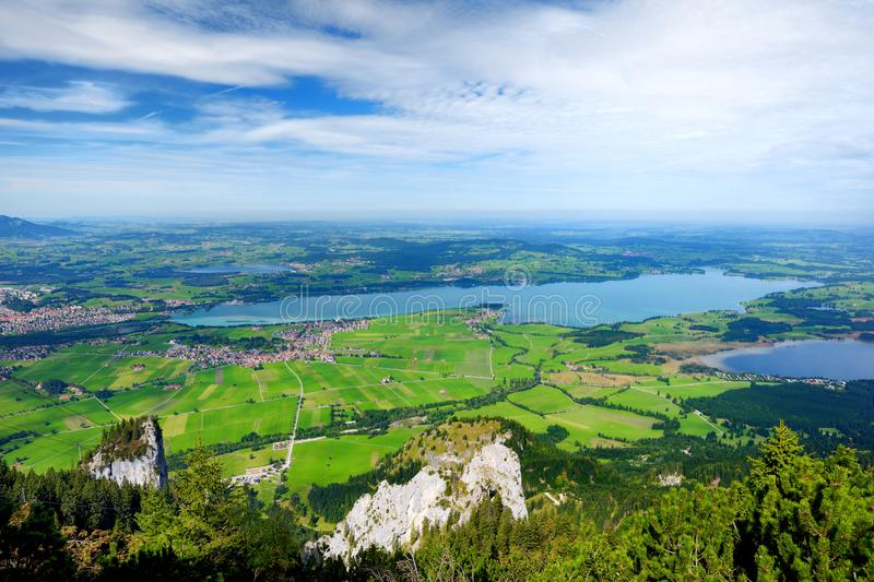 Picturesque views from the Tegelberg mountain, a part of Ammergau Alps, located nead Fussen town stock photos