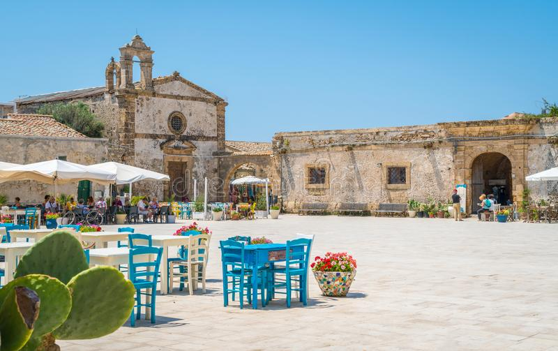 The picturesque village of Marzamemi, in the province of Syracuse, Sicily. Marzamemi is a southern Italian hamlet of Pachino, a municipality part of the stock photos