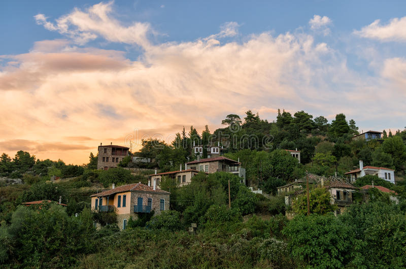 The picturesque village of Parthenonas, in Sithonia, Chalkidiki, Greece. At dusk colors royalty free stock photography