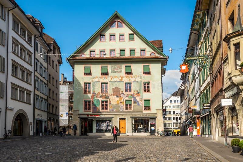 The picturesque Weinmarkt in Luzern, Switzerland. stock photos