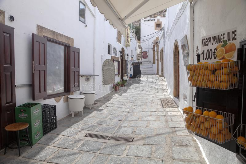 picturesque white streets, Lindos, Rhodos stock images